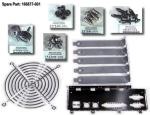 Miscellaneous hardware kit - Includes fan guard, four 6-32 x 0.25-inch drive screws, four M3 x 5mm long drive screws, four flathead plastite, two thumb screws, four plastic fan rivets, five I/O slot covers, and rear panel system board connector EMI shield
